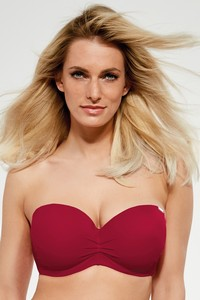 Beach balkonette bra bathing strapless bordo, Krisline