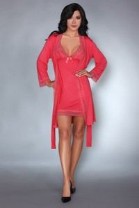 Livia Corsetti Luisanna coral lc 90306 touchable collection dressing gown + shirt + panty