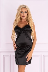 Raber satin t-shirt night with strings black, LC 90579, Livia Corsetti
