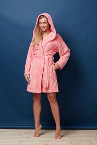 L&l lady short dressing gown PP 7101 bow - bathrobes