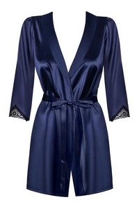 Obsessive satinia robe dark blue night - bathrobe night - szlafrok